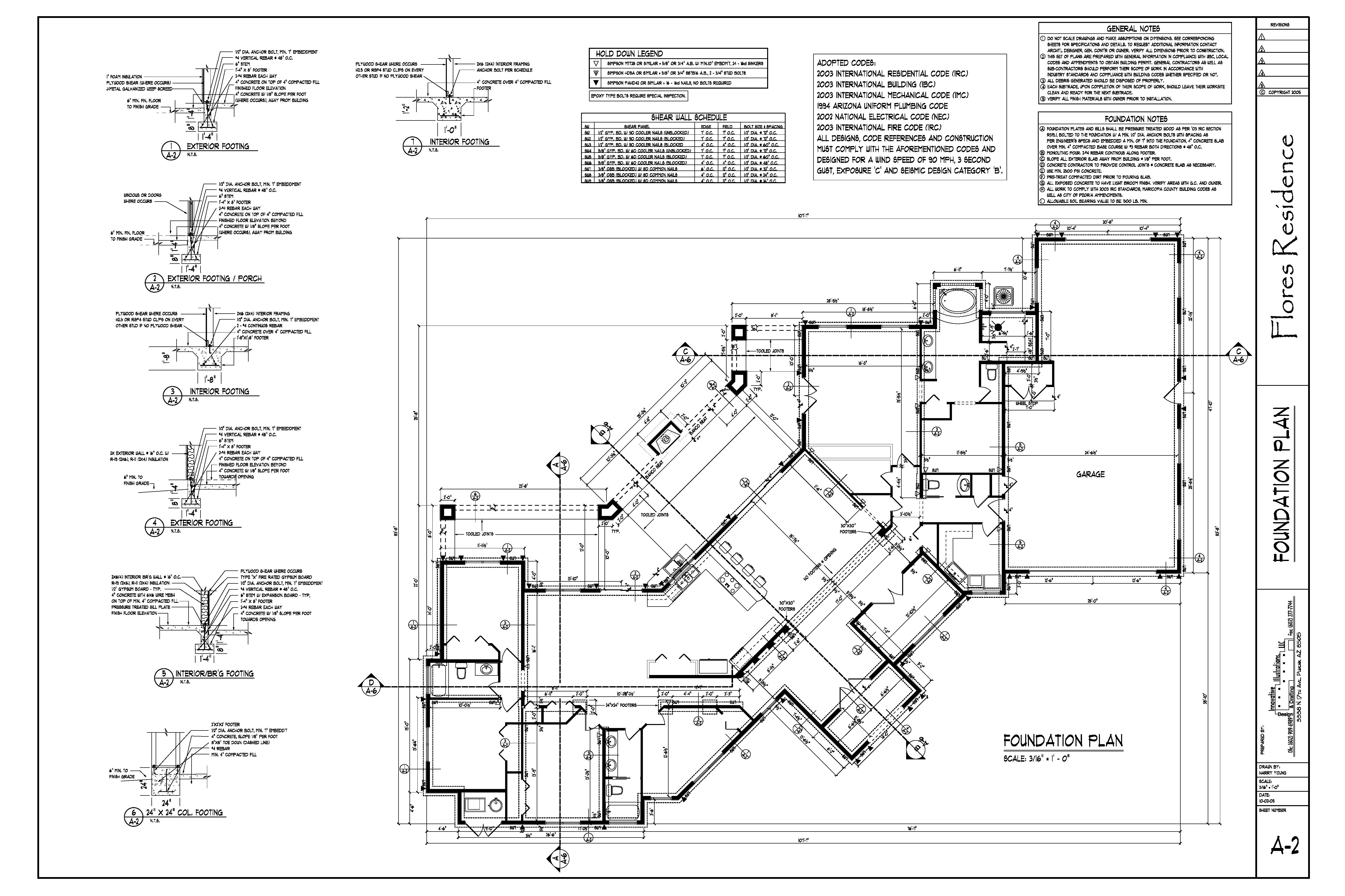 Drawings harry young design drafting for Foundation plan