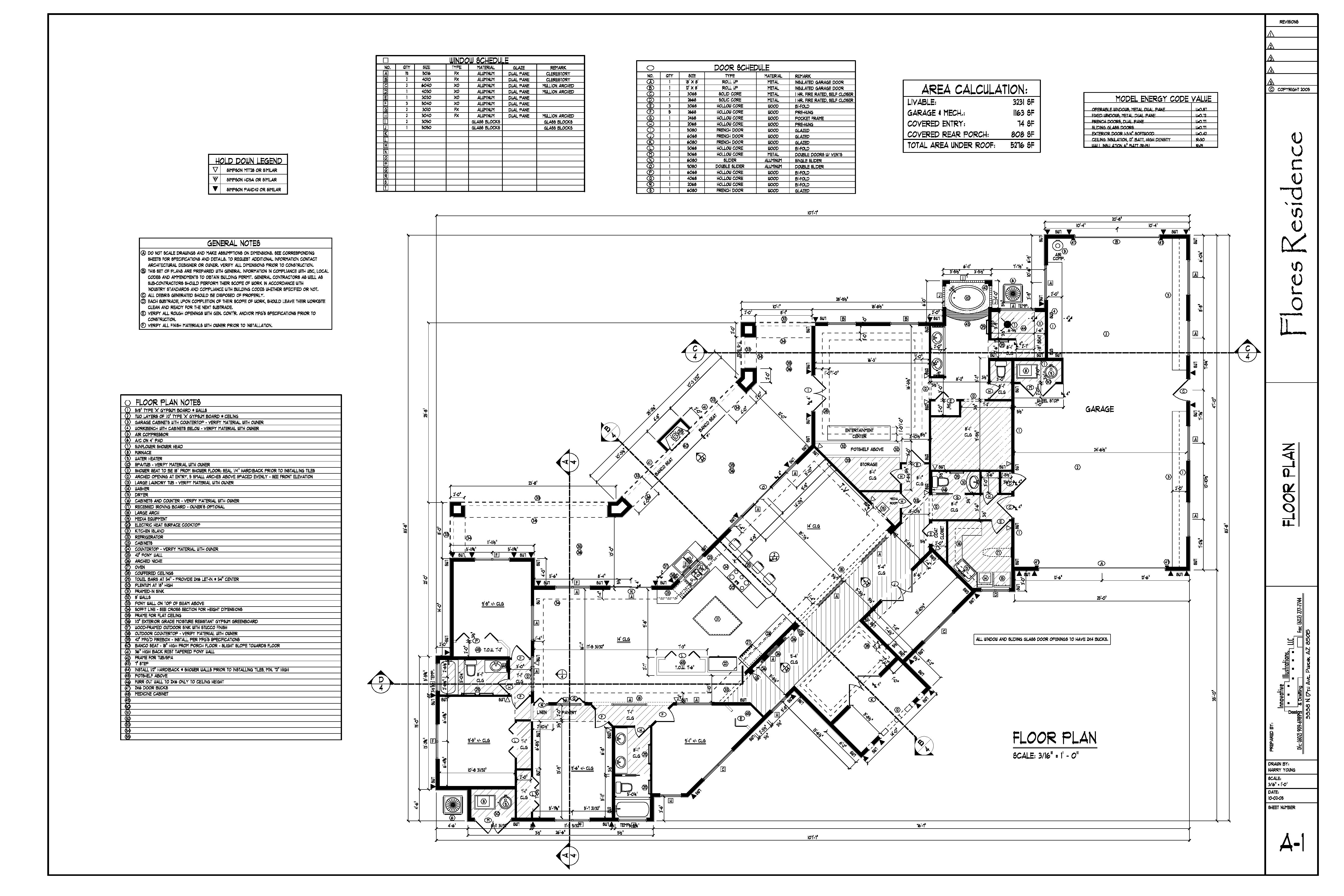 Flores Residence Harry Young Design Drafting Residential Electrical Plan General Notes
